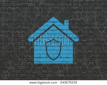 Finance Concept: Painted Blue Home Icon On Black Brick Wall Background With Scheme Of Binary Code