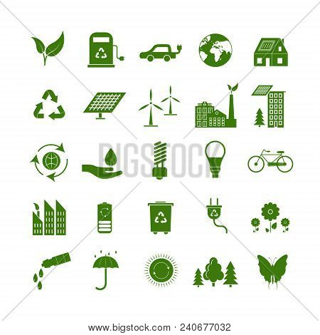 Cartoon Ecology Signs Green Icons Set Ecological Power Concept Flat Design Style. Vector Illustratio