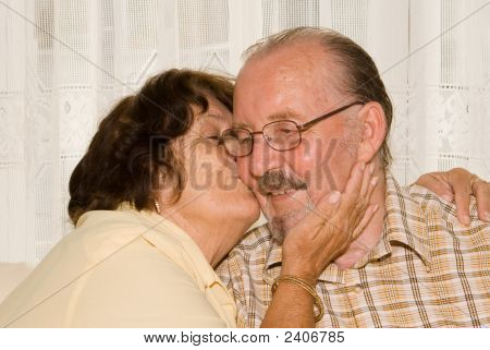 Loving Seniors, Kissing Cheek