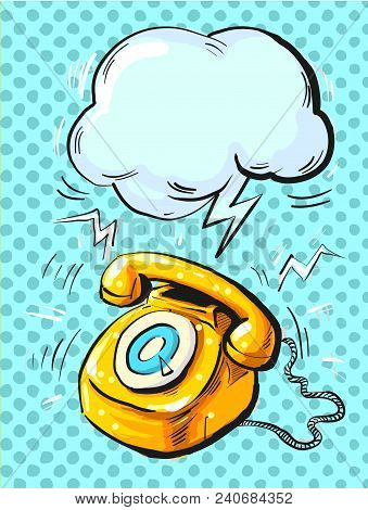 Vector Illustration Of An Old Style, Retro Phone Ringing, In Pop Art Style