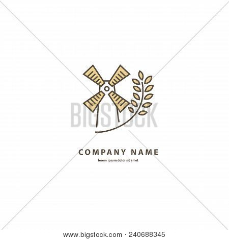 Illustration Design Of Elegant Line Curve Logotype Bakery. Vector Icon Grain Wheat And Wind Mill.