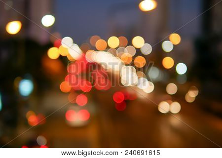 Cityscape Bokeh, Blurred Photo, Cityscape At Twilight Time In Bangkok, Thailand