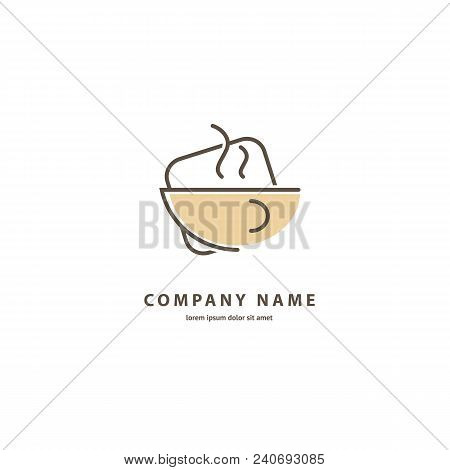 Illustration Design Of Monoline, Minimalistic, Simple Logotype Coffee. Vector Icon Cup With Drink.
