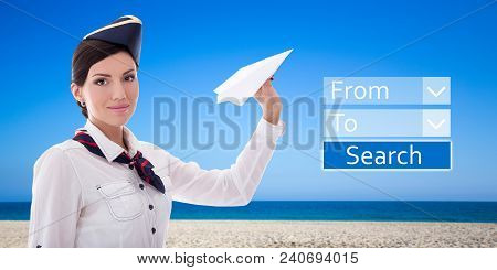 Travel Concept - Stewardess With Paper Plane And Application For Online Booking Flights Over Summer