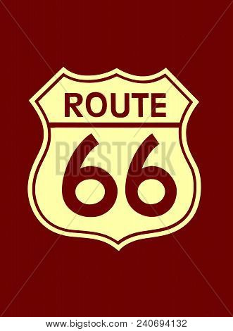 Travel Usa Sign Of Route 66 Label. American Road Icon.