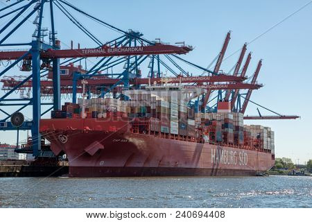 Hamburg, Germany - May 8, 2018: Container ship CAP SAN ARTEMISSIO, operated by shipping company HAMBURG SÜ?D, at Burchardkai container terminal.
