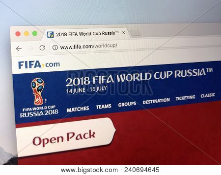 Amsterdam, Netherlands - May 15, 2018: Website Of Fifa.com, Announcing The 2018 Fifa World Cup In Ru
