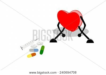 Weak, Tired, And Exhausted Heart Sitting With Medication (syringe, Medicine Tablets, Capsule Pills,