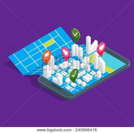 Mobile Gps City Navigation Maps Concept 3d Isometric View Positioning Location Application Navigator