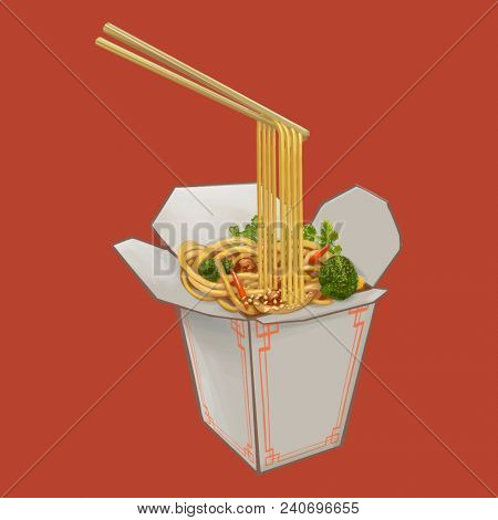 Chow mein in takeawy box illustration