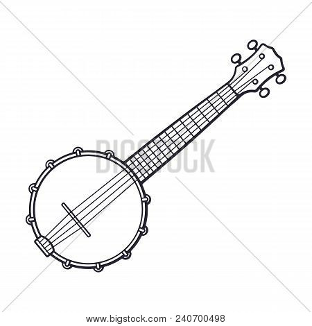 Vector Illustration. Hand Drawn Doodle Of Classical Country Music Banjo. String Plucked Musical Inst