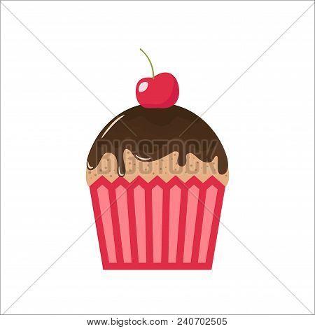 Cartoon Chocolate Cupcake With Cherry On Top. Clipart Cupcake Cartoon, Chocolate Topping And Cherry.