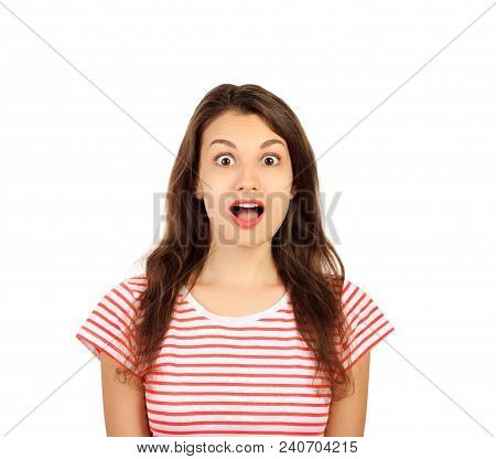 Surprised Happy Young Woman Looking Sideways In Excitement. Emotional Girl Isolated On White Backgro