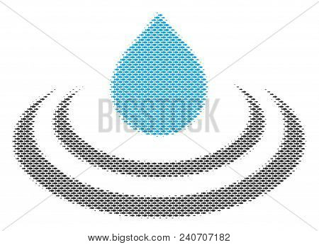 Fish Drop Ripple Halftone Mosaic. Vector Fish Pictograms Are Grouped Into Drop Ripple Illustration.