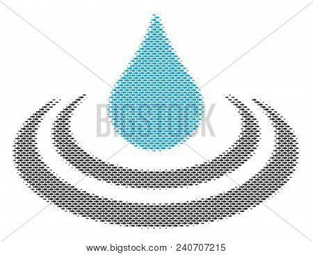 Fish Drop Ripple Halftone Mosaic. Vector Fish Items Are Arranged Into Drop Ripple Collage. Seafood D