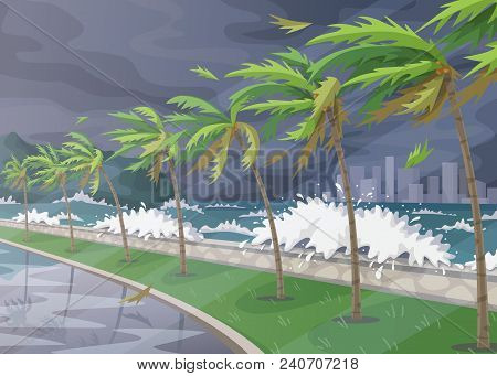 Beginning Of Storm In Ocean, Huge Waves, Dark Sky, Palm Trees On High Wind Along Coast. Tropical Lan