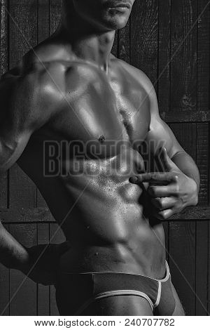 Excellent Sporting Sexual Young Male Naked Torso Of Bodybuilder Man With Cool Abdominal Pectorals Mu