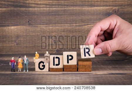 Gdpr. General Data Protection Regulation. Cyber Security And Privacy Concept. Wooden Letters On The