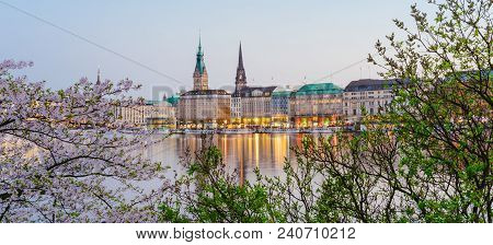 Beautiful Panoramic View Of Alster River And Hamburg Town Hall - Rathaus At Spring Earning Evening D