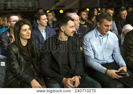 Brovary. Ukraine, 14.11.2015 Postol, A Wbc Super Lightweight Champion, Is Sitting Between Woman And