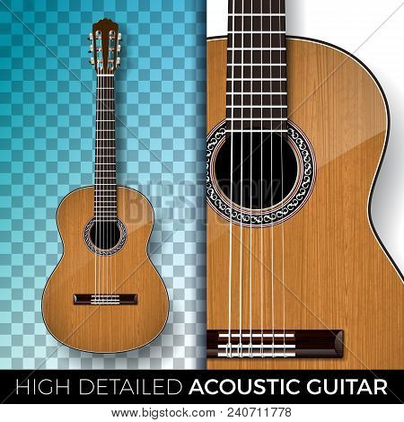 Acoustic Guitar Isolated On Transparent Background. High Detailed Vector Illustration For Invitation