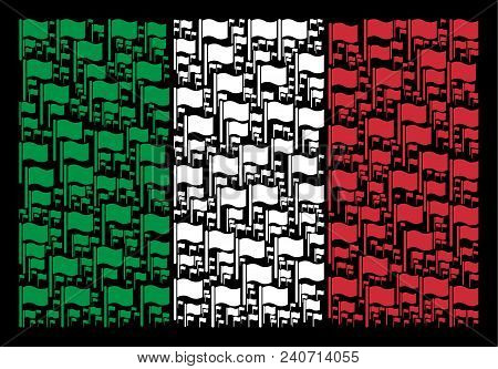 Italy Official Flag Flat Concept Organized Of Waving Flag Icons On A Black Background. Vector Waving