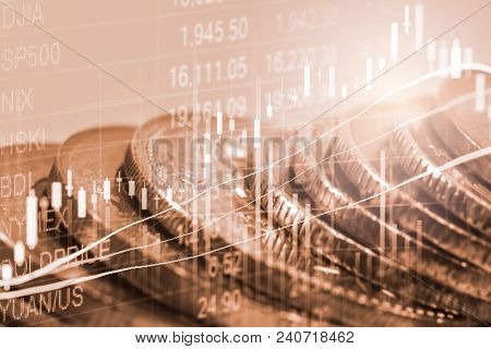 Stock Market Graph And Business Financial Data On Led. Business Graph And Stock Financial Indicator.