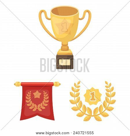Awards And Trophies Cartoon Icons In Set Collection For Design.reward And Achievement Vector Symbol