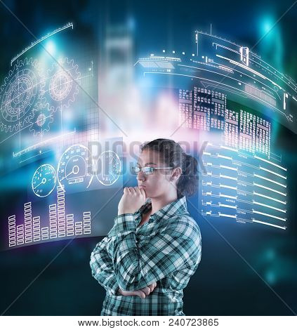Thoughtful Woman Analyze The Data From Digital Screens.