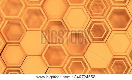 Abstract 3D Background Made Of Orange Hexagons
