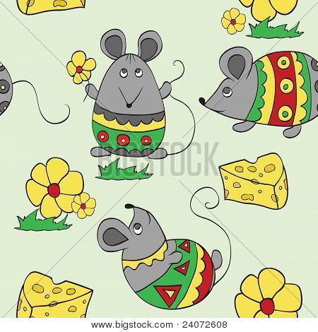 Seamless Background With Decorative Mouses