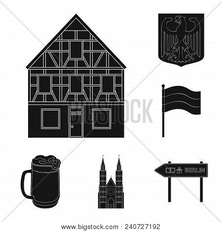Country Germany Black Icons In Set Collection For Design. Germany And Landmark Vector Symbol Stock