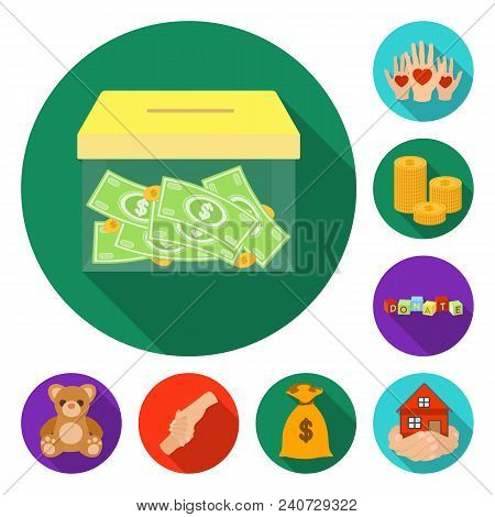 Charity And Donation Flat Icons In Set Collection For Design. Material Aid Vector Symbol Stock  Illu