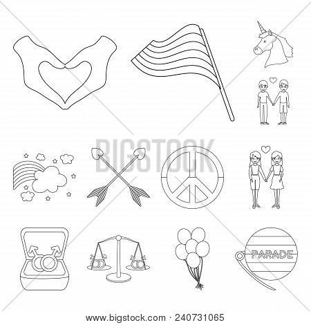 Gay And Lesbian Outline Icons In Set Collection For Design.sexual Minority And Attributes Vector Sym