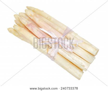 Bundle Of White Asparagus Shoots, Also Sparrow Grass. Blanched Cultivated Asparagus Officinalis. Spr