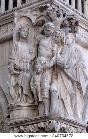VENICE, ITALY - MAY 28: Judgment of Solomon, detail of the Doge Palace, St. Mark Square, Venice, Italy, UNESCO World Heritage Site on May 28, 2017.