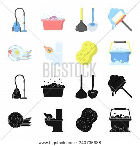 Cleaning And Maid Black, Cartoon Icons In Set Collection For Design. Equipment For Cleaning Vector S