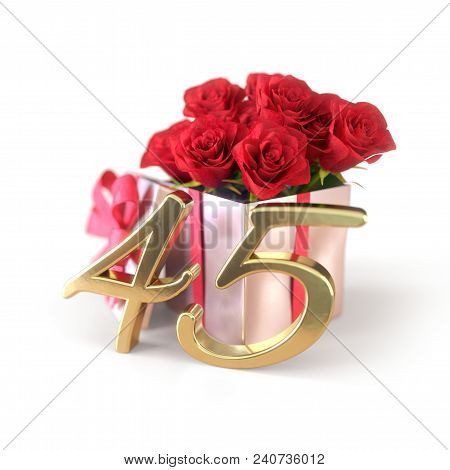 Birthday Concept With Red Roses In Gift Isolated On White Background. 3d Render - Forty-fifth Birthd