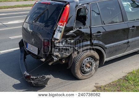 Car Crash Accident On Street, Damaged Automobile After Collision In City, Car Assistance Needed, Sev