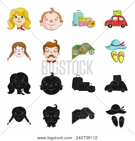 Travel, Vacation, Camping, Map .family Holiday Set Collection Icons In Black, Cartoon Style Vector S