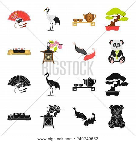 Sushi, Koi Fish, Japanese Lantern, Panda.japan Set Collection Icons In Black, Cartoon Style Vector S
