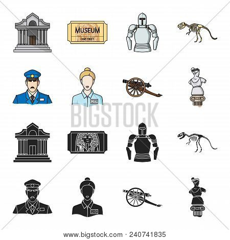 Guard, Guide, Statue, Gun. Museum Set Collection Icons In Black, Cartoon Style Vector Symbol Stock I