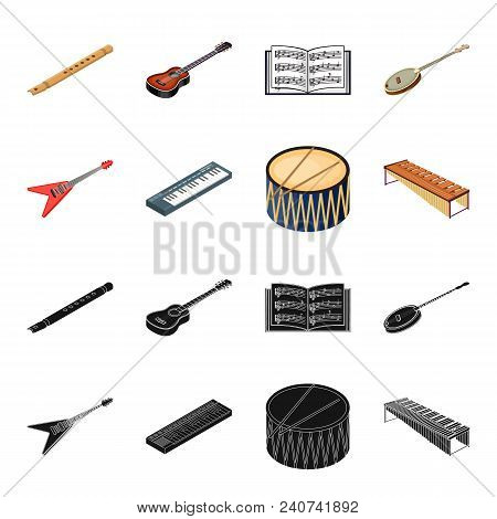 Musical Instrument Black, Cartoon Icons In Set Collection For Design. String And Wind Instrument Iso