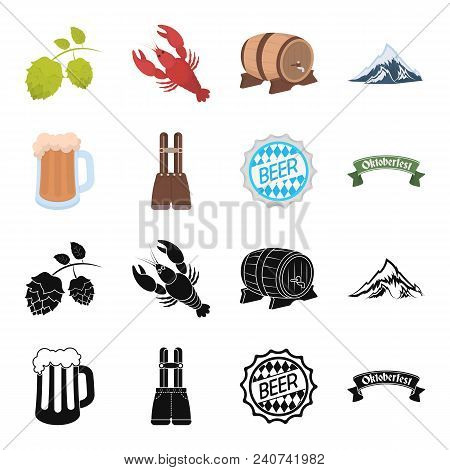 Shorts With Suspenders, A Glass Of Beer, A Sign, An Emblem. Oktoberfest Set Collection Icons In Blac