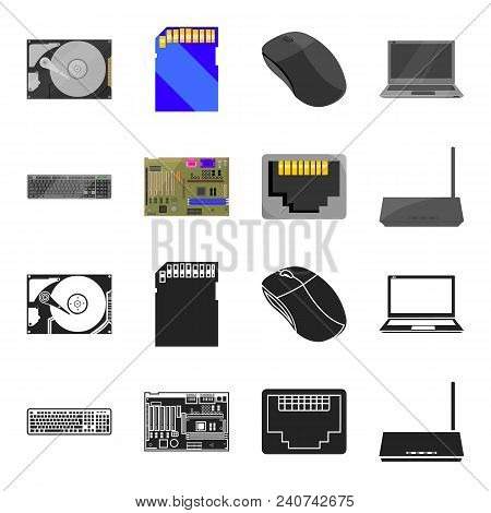 Keyboard, Router, Motherboard And Connector. Personal Computer Set Collection Icons In Black, Cartoo