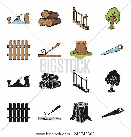 Fence, Chisel, Stump, Hacksaw For Wood. Lumber And Timber Set Collection Icons In Black, Cartoon Sty