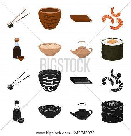 Soy Sauce, Noodles, Kettle.rolls.sushi Set Collection Icons In Black, Cartoon Style Vector Symbol St