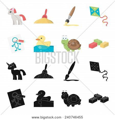 Children Toy Black, Cartoon Icons In Set Collection For Design. Game And Bauble Vector Symbol Stock