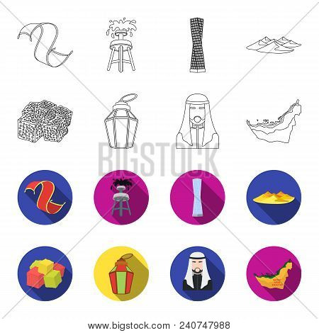 Eastern Sweets, Ramadan Lamp, Arab Sheikh, Territory.arab Emirates Set Collection Icons In Outline,