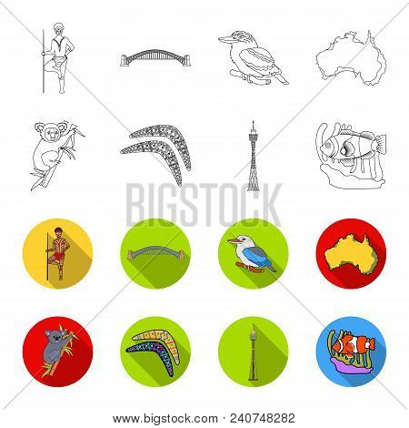 Koala On Bamboo, Boomerang, Sydney Tower, Fish Clown And Ammonium.australia Set Collection Icons In